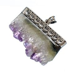 "Gigantic Amethyst Stalactites 925 Sterling Silver Pendant 1 3/4"" PD477932"