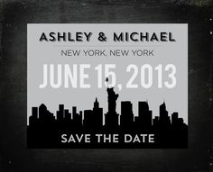 New York Modern Save the Date Postcards by Jam + Toast