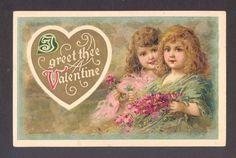 Valentine's Day Beautiful Children Gather Roses Saint Valentine, Valentine Ideas, Valentine Cards, Be My Valentine, Victorian Valentines, Vintage Valentines, Vintage Ephemera, Vintage Art, Old Cards