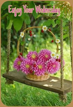 Hello Beautiful, Beautiful World, Dahlia, Flower Basket, Ikebana, Color Splash, Pink And Green, Floral Arrangements, Beautiful Flowers