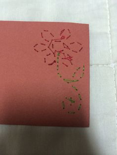 """How the stitched card looks from behind. You can find the front picture in my folder """"stuff i made :3 """""""