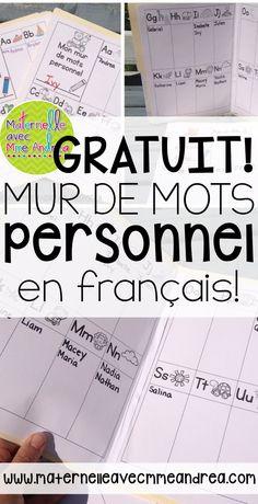 FREE French personal word wall | mur de mots personnel GRATUIT | écriture | maternelle