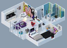25 charming 3d apartment plans, architecture, home decor, home improvement