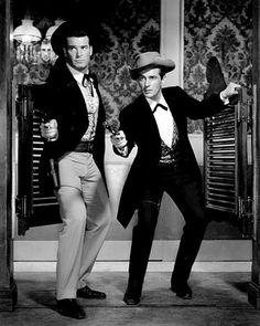 Maverick (TV series) - James Garner & Jack Kelly as Bret and Bart Maverick. Tyrone Power, Gary Cooper, Barbara Stanwyck, John Wayne, Old Tv Shows, Movies And Tv Shows, Hollywood Stars, Old Hollywood, Classic Hollywood