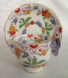 RARE Royal Albert Hand Painted Tea Cup with a Butterfly Handle / Fine Bone English China / Vintage Tea Set /