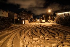 Winter neighborhood street by Dagur Jonsson