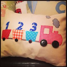 """Handmade to order personalised """"train"""" cushions on Etsy, £25.00"""