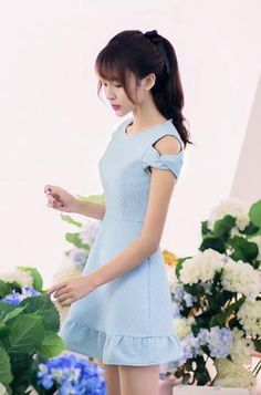 Korean fashion round neck strapless flounced short-sleeved dress - AddOneClothing - 1 in 2020 Japan Fashion, Kawaii Fashion, Cute Fashion, Teen Fashion, Fashion Outfits, Swag Fashion, Dress Fashion, Cute Dresses, Casual Dresses
