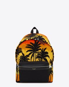 Saint Laurent Classic HUNTING Backpack In Red, Yellow And Black Palm Trees At Sunset Printed Nylon And Black Leather | YSL.com