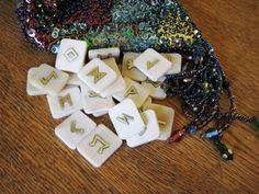 Rune Set. Bone runes.  Bone and Brass Elder Futhark by ilarian