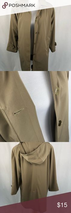 Relativity long beige trench coat with hood Small  Used condition. Smoke free/pet friendly home. Make sure to check out my other listings, thanks for looking!  F2 Relativity Jackets & Coats Trench Coats