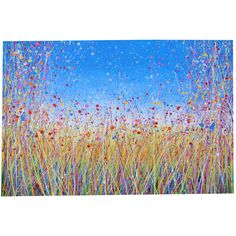 Yellow Grass Meadow and Wild Flowers Painting with Blue Sky
