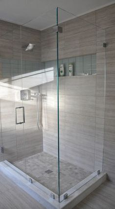 Bathroom Tile: calm colour in porcelain (the toughest tile to chip)