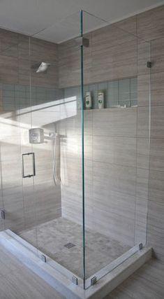 Bathroom Tile: calm colour in porcelain (the toughest tile to chip)