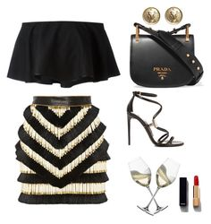 """Untitled #63"" by agnesenapoli on Polyvore featuring Balmain, Rosetta Getty, Tom Ford, Prada, Chanel and Riedel"