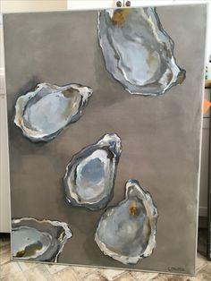 Oyster painting by Cindi Ornstein Seashell Painting, Seashell Art, Oyster Image, Sea Life Art, Painted Shells, Coastal Art, Beginner Painting, Art Studies, Painting Inspiration