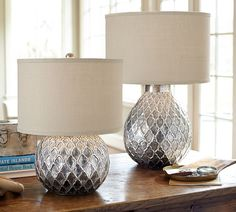 Nola Table Lamp Bases from Pottery Barn. Could knock off with lamps I have Silver Table Lamps, Table Lamp Base, Bedside Table Lamps, Bedroom Lamps, Lamp Bases, Console Table, Lighting Sale, Home Lighting, Deco Design