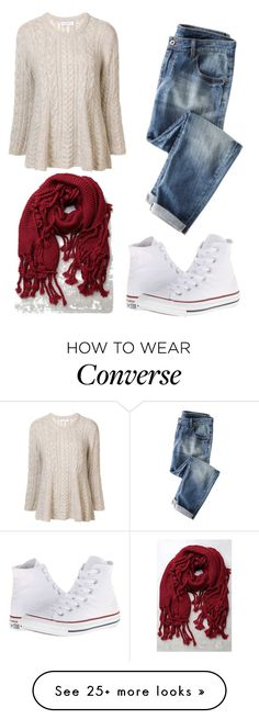 """179 Red Wine"" by esmkay on Polyvore featuring Ryan Roche, LULUS, Converse and scarf"