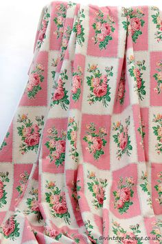 Vintage Home Shop - Simply stunning 1940s French Cretonne Fabric, Pink Roses on Cream and Pink Panels: www.vintage-home.co.uk