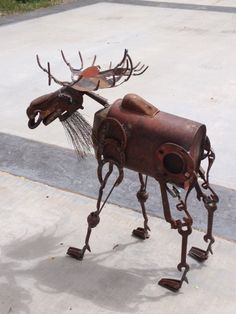 scrap metal moose - an old tractor seat would make good antlers