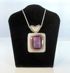 white, purple, purple dichroic by threefatesfiber on Etsy Purple Accessories, Purple Jewelry, Glass Pendants, Fused Glass, Dog Tag Necklace, Artisan, Etsy Shop, Pendant Necklace, Drop Earrings