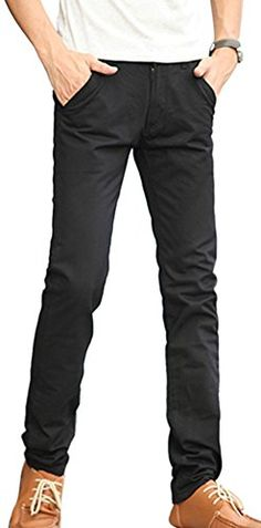 VonFon Men Simple Straight Cut Leisure Fashion Trousers Vonfon