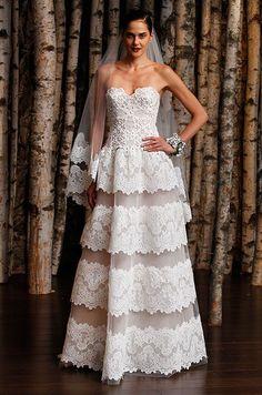 Lace strapless wedding dress by Naeem Khan, Spring 2015