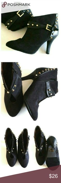 """""""Ashley"""" Studded Black Booties Black faux suede booties with gold studs on buckle & back, keyhole front, side zipper, animal print interior, 4"""" heel, wide width (8W) Ashley Stewart Shoes Ankle Boots & Booties"""