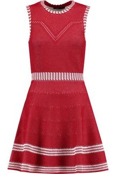 Shop on-sale Romy jacquard-knit mini dress. Browse other discount designer Mini Dress & more luxury fashion pieces at THE OUTNET Clothes For Sale, Dresses For Sale, Clothes For Women, Red And White Dress, Dress Red, Discount Designer Clothes, Maje, Knit Dress, Luxury Fashion