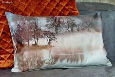 Aube, impression numérique, des paysages du lac, les arbres brouillard, candis, housse de coussin 30x50cm