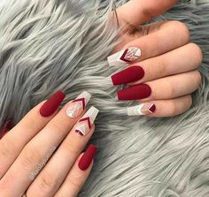 Red And White Nails, Pink Nails, Red Matte Nails, Valentine's Day Nail Designs, Valentine Nail Art, Nails For Valentines Day, White Acrylic Nails, Nagel Gel, Powder Nails