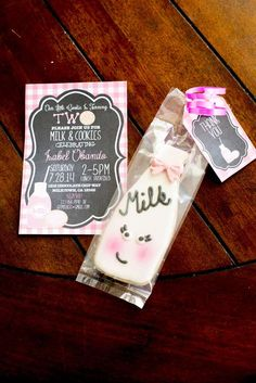 Invitations at a milk & cookies birthday party! See more party planning ideas at CatchMyParty.com!