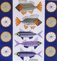 scandinavian tea towel 50s vtg era design fabric fish Almedahls retro | eBay