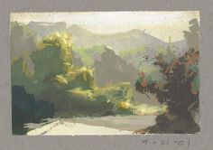 Land Sketch: Out by Mulholland by Nathan Fawkes Landscape Sketch, Landscape Drawings, Landscape Art, Landscape Paintings, Painting Inspiration, Art Inspo, Nathan Fowkes, White Gouache, Guache