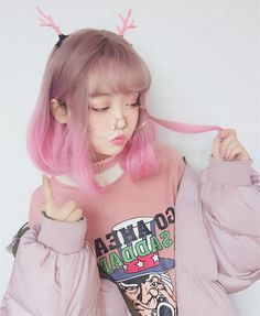 Pink gradient short wig YV40379
