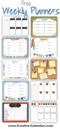 Free printable weekly planners to plan your weekly schedule