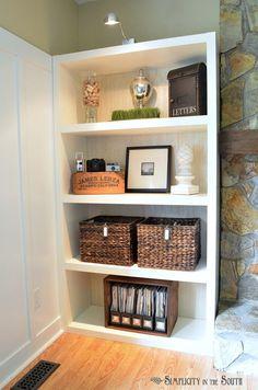 White Ikea bookshelves- redone