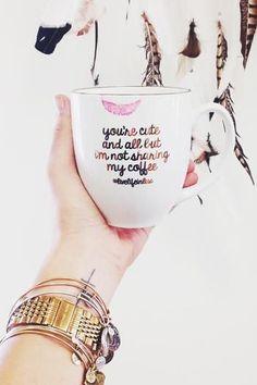 One mug, two mugs. Red mug, blue mug.