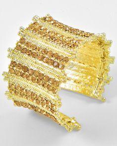 Gold Tone / Brown Rhinestone / Lead Compliant / Cuff Bracelet