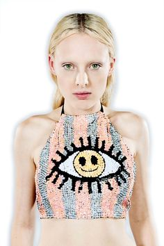 discount universe smiley eye halter top