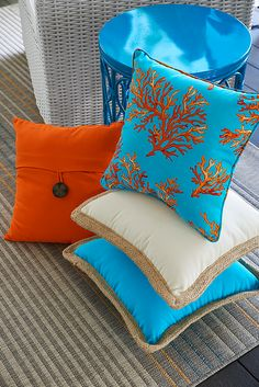 Only two places on earth feature this exact color combination: The clear waters of coastal Thailand and Pier 1 Imports. For brightening up your outdoor decor, Surin Coral contributes the colors you want in a durable, soft polyester that's UV-protected and mildew-resistant.