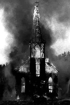 True Norwegian Black Metal is often referenced with churchs burnings as members often set these fires to express their hatred for God and his followers.