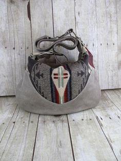 NEW Oregon Wool and Tan Leather Hobo Purse Indian  Pendleton Blanket Cross Body Bag.. winter