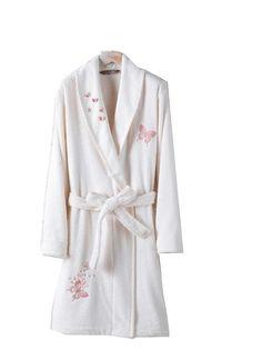 Valeria, Luxury Embroidered Bathrobe, % 100 Turkish cotton,Ecru color  | eBay