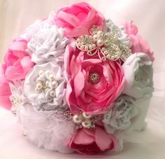 """Victorian  Pink Fabric Bouquet   Fabric Wedding Bouquet, brooch bouquet """"Mirage"""", Pink and White"""