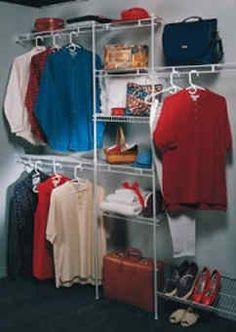 NEW ClosetMaid 1608 5 to 8 Foot Wire Closet Organizer Kit Clothes Storage Storage Room Organization, Closet Storage, Storage Spaces, Storage Ideas, Organizing Tools, Organising Ideas, Wire Closet Organizer, Closet System, Shelf