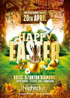 Happy Easter Event | Psd Flyer Template by RomeCreation on @deviantart #party #flyer #affiche #template #photoshop #psd #nightclubDeviantArt Free Psd Flyer Templates, Flyer Free, Event Flyer Templates, Invitation Flyer, Happy Easter Day, Holiday Invitations, Party Poster, Easter Party, Party Flyer