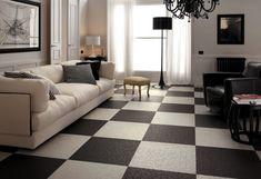 Minimalist Living Room Design With Cozy Sofa Also Black And White Floor Design Like Chess Board Black And White Flooring, Black And White Living Room, White Rooms, Black White, Floor Design, Tile Design, Checkered Floors, Ceramic Floor Tiles, Living Room Flooring