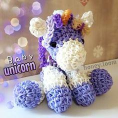 Rainbow Loom Amigurumi Unicorn : Unicorn Rubber Band Figure, Rainbow Loom Loomigurumi ...