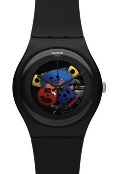 Swatch Unisex Black Lacquered Skeleton Watch SUOB101